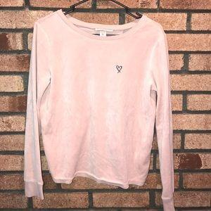 Victoria's Secret pink velvet open back shirt